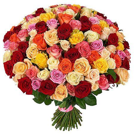 101 роза Яркий Микс