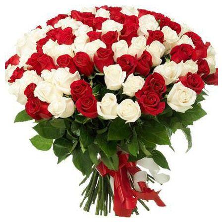 101 роза Красные и Белые