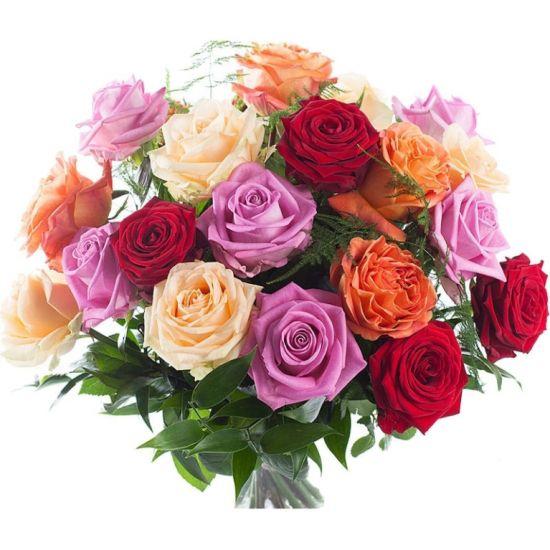Яркие смешанные розы