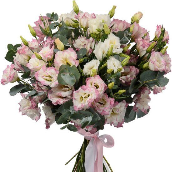 Розовые с белыми эустомы